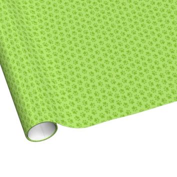 Lime green paw print pattern