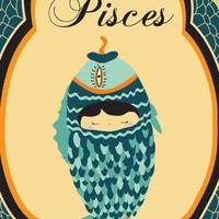 Pisces Zodiac Sign Indie Print / Poster 8x10 Artwork of Pisces Astrological Sign for Kids, Adults or Teens