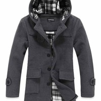 Classic Style Long Sleeve Wool Male Casual Coat Grey M/L/XL @S0Y171-1g $58.37 only in eFexcity.com.