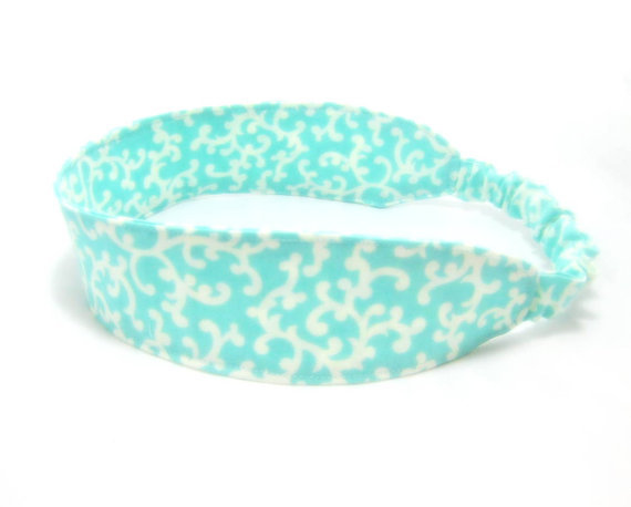 Summer Breeze Aqua Fabric Headband - Adjustable Elastic - White Turquoise Aqua