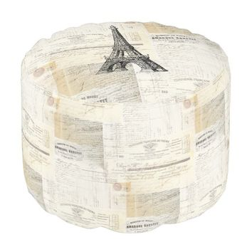 Vintage Paris Eiffel French Ephemera Pouf Seat