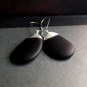 Midnight Black Sea Glass Earrings:  Fine Silver Wire Wrapped Opaque Jet Black Tie Bold Modern Beach Wedding Jewelry