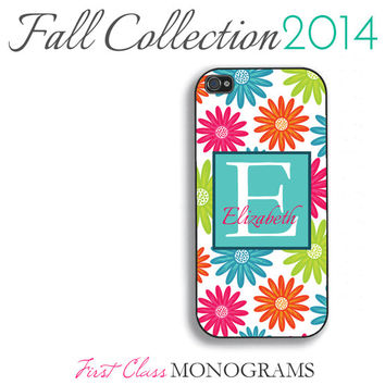 Colorful Daisy Flowers Monogram Phone Case - iPhone 4,4s,5,5s,5c; Galaxy S3,S4,S5; iPod 4,5 Personalized Single Initial Floral iPhone Case