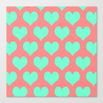 Hearts of Love Coral Mint Canvas Print by Beautiful Homes