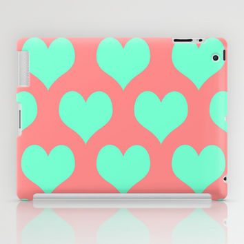 Hearts of Love Coral Mint iPad Case by Beautiful Homes