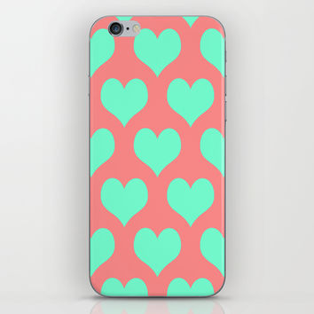 Hearts of Love Coral Mint iPhone & iPod Skin by Beautiful Homes