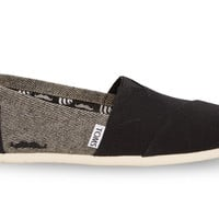 TOMS FOR MOVEMBER GREY AND BLACK COATED CANVAS HERRINGBONE WOMEN'S CLASSICS