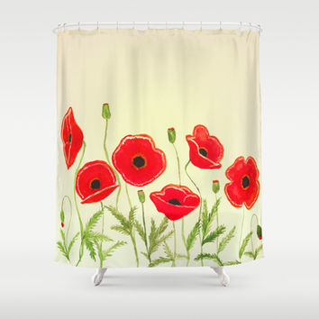 Watercolor poppies Shower Curtain by Armine Nersisian