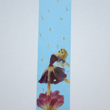 "Handmade unique bookmark ""The magic of dance"" - Decorated with dried pressed flowers and herbs - Original art collage."