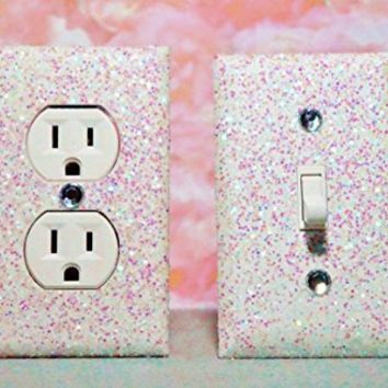 SET OF CHUNKY WHITE SNOW FROZEN Glitter Switch Plate & Outlet Cover, SET 0F 2! ALL Styles Available! ***************************************************************************************************** FROZEN GIRL'S BEDROOM DÉCOR: ************************