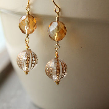 Gold Wedding Earrings, Gold Dangle Earrings Winter Wedding Bridal Jewelry Bohemian Jewelry Boho Chic Earrings