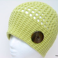 Crochet Hat Beanie Womens Teens Soft Celery Green Wide Band with Handcrafted Wood Button