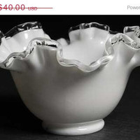 20% OFF SUMMER SALE White Glass Bowl Collectible Fenton Crystal Silver Crest 6 Inch Round Double Crimped Bowl