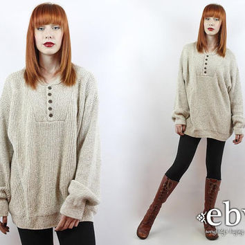 Vintage 90s Cream Knit Pullover Sweater S M L Oversized Sweater Chunky Knit Chunky Sweater Oversized Knit Cream Sweater Oversized Jumper
