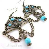 Bronze &amp; Turquoise Earrings - by ATouchofBling on madeit