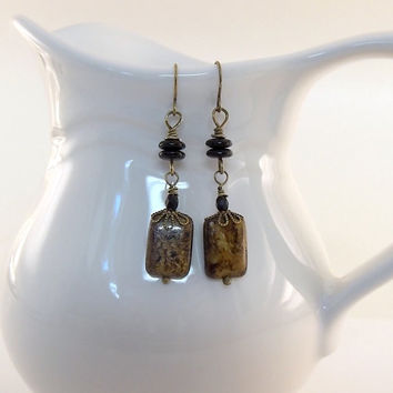Earrings Bronzite and Black Antique Brass Wires