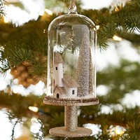 House and Tree Pedestal Cloche Ornament benefiting Give a Little Hope campaign