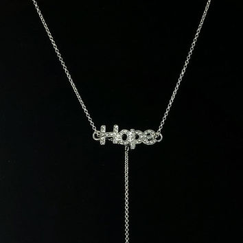 Breast Cancer Support Awareness 18in. Y Necklace. Silver Chain with Hope and Ribbon Pendants.