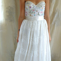 Meadow Bustier Wedding Gown... XS or S... women dress boho whimsical woodland country vintage embroidery free people lace eco friendly