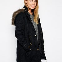 Brave Soul Cotton Twill Parka With Oversized Fur Trimmed Hood