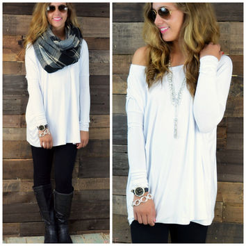 Galloway White Piko Long Sleeve Top