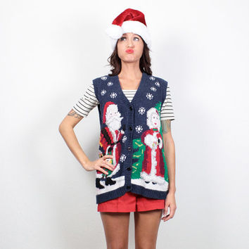 Vintage Ugly Christmas Sweater Vest Tacky Christmas Sweater Ugly Xmas Sweater Navy Blue Sant and Mrs Claus Chunky Knit Cardigan M Medium L