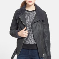 Trouve Shearling Collar Leather Jacket