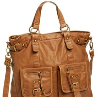 Double Pocket Faux Leather Tote