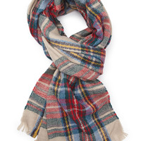 FOREVER 21 Tartan Plaid Scarf Beige/Red One