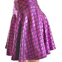 Fuchsia Dragon Scale Skater Skirt