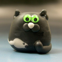 Handmade Lampwork LUCKY the Black Flat Cat with Mouse Focal Glass Bead SRA Gelly