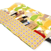 Makeup organizer bag - Dresses in Yellow, fashion Makeup roll,  Cosmetic pouch, five pockets Cosmetic bag