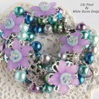 Luxe Pearl beaded Charm Bracelet - Lily Pond - by WhiteRavenDesigns on madeit