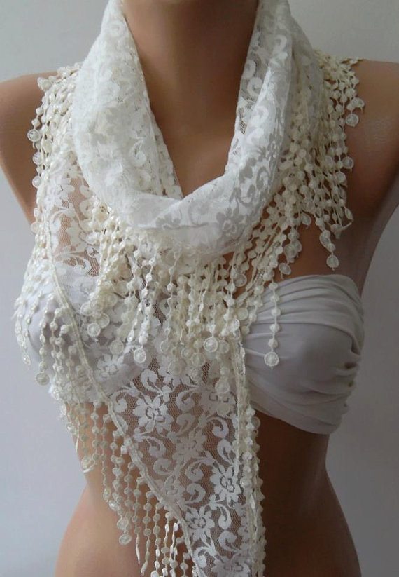 ON SALE/Pearl White - Elegance  Shawl -- Scarf with Lacy Edge