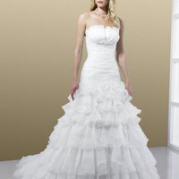 Trumpet Strapless Floor Length Gown with Organza J6168 : $266.00 at VikiDress.com.