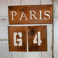 Paris sign set recycled wood crate decor industrial wooden wall decor Anita Spero