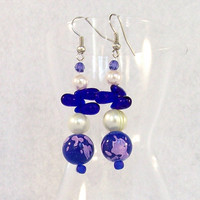 Beaded Dangle Earrings, Cobalt Purple and Pearl colors by Jan4insight