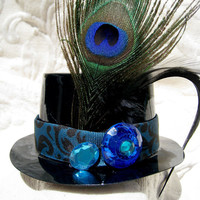 Mini Top Hat Steampunk Fascinator Peacock Feather Blue Jewels