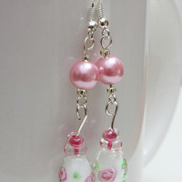 Long pink lampwork pearl dangle earrings