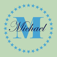 Name and Initial Vinyl Wall Decal Border Personalized Monogram Wall Decal Baby Nursery Room Wall Art 23Hx23W - 009
