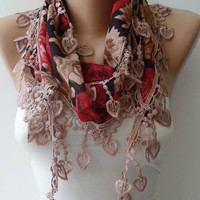 Light Brown and Red Scarf with Trim Edge - Summer Colors - New
