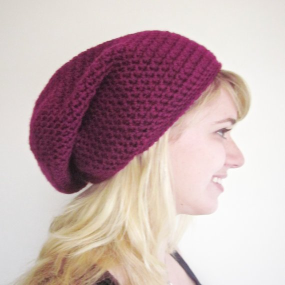 Crochet Slouchy Beanie The Derby Square Hat in Berry