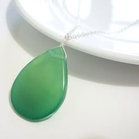 Green Agate Pendant in Sterling Silver, May Birthstone Necklace