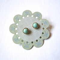 Mint Seafoam Earrings - Small Round Studs