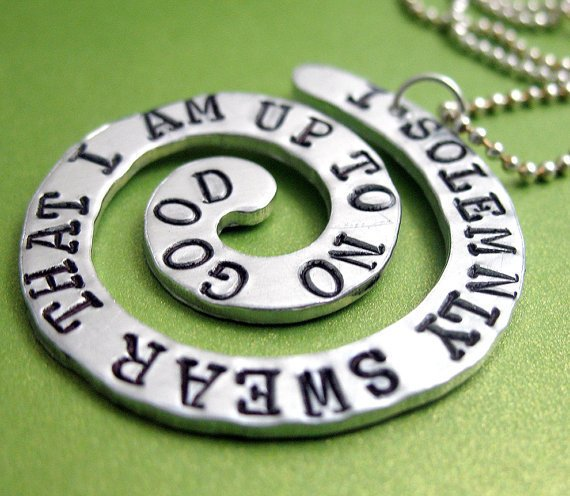 Harry Potter Spiral Pendant - I Solemnly Swear That I Am Up To No Good... Customizable Hand Stamped Necklace