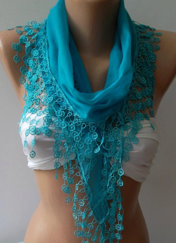 Blue /Cotton Shawl / Elegance Shawl / Scarf with Lace Edge