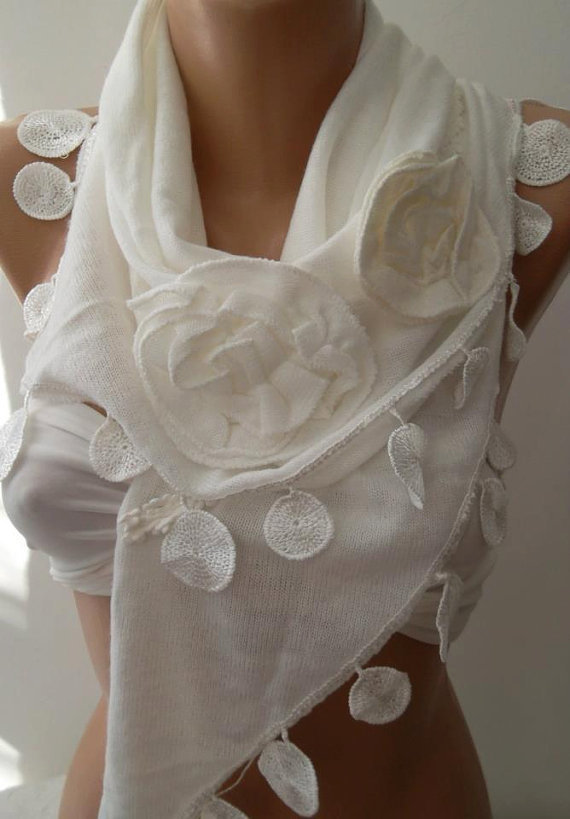 White  / Elegance  Shawl / Scarf with Lacy Edge,