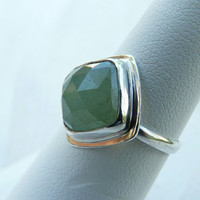 Handmade aventurine ring, sterling silver ring, bezel set rose cut green ring - gemstone jewelry