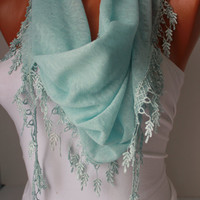Blue Shawl Scarf - Headband - Cowl with Lace Edge-Summer Trends by DIDUCI
