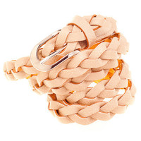 Solid Beige Braided Belt